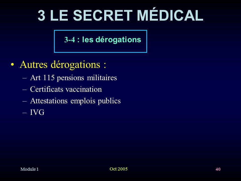 Module 1 Oct 2005 40 3 LE SECRET MÉDICAL Autres dérogations : –Art 115 pensions militaires –Certificats vaccination –Attestations emplois publics –IVG 3-4 : les dérogations