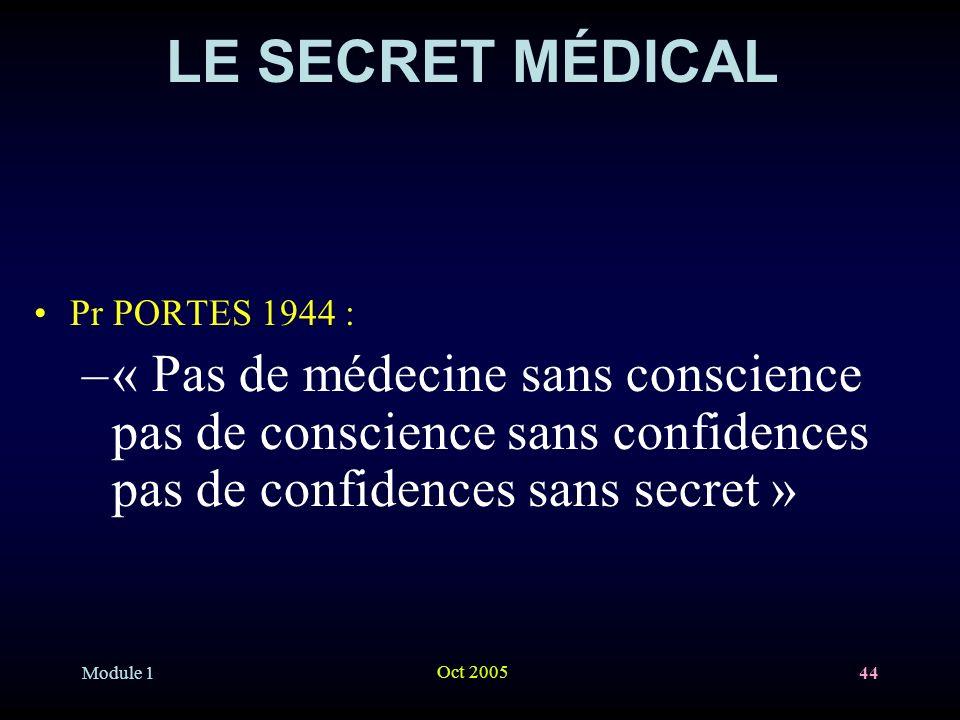 Module 1 Oct 2005 44 LE SECRET MÉDICAL Pr PORTES 1944 : –« Pas de médecine sans conscience pas de conscience sans confidences pas de confidences sans secret »