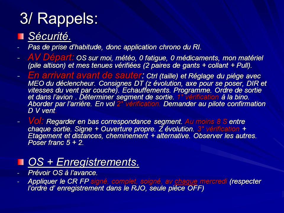 3/ Rappels: Sécurité. - Pas de prise dhabitude, donc application chrono du RI.