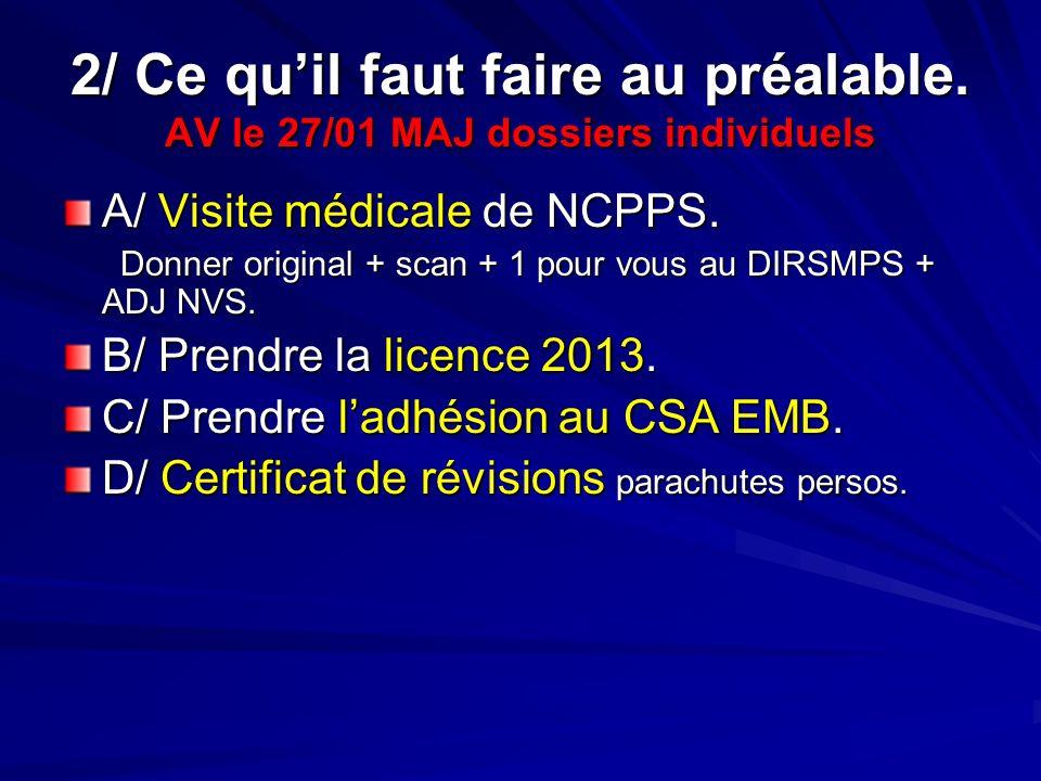 2/ Ce quil faut faire au préalable. AV le 27/01 MAJ dossiers individuels A/ Visite médicale de NCPPS. Donner original + scan + 1 pour vous au DIRSMPS