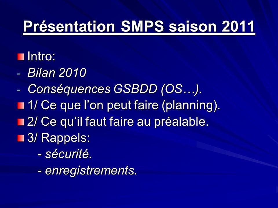 Présentation SMPS saison 2011 Intro: - Bilan 2010 - Conséquences GSBDD (OS…). 1/ Ce que lon peut faire (planning). 2/ Ce quil faut faire au préalable.