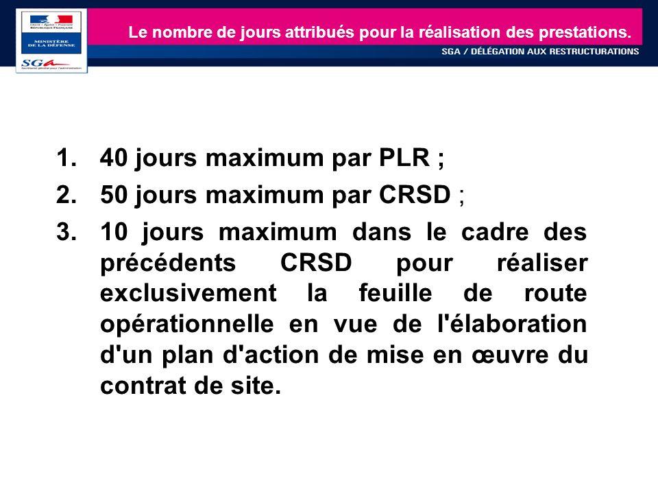 18 1.40 jours maximum par PLR ; 2.50 jours maximum par CRSD ; 3.10 jours maximum dans le cadre des précédents CRSD pour réaliser exclusivement la feui
