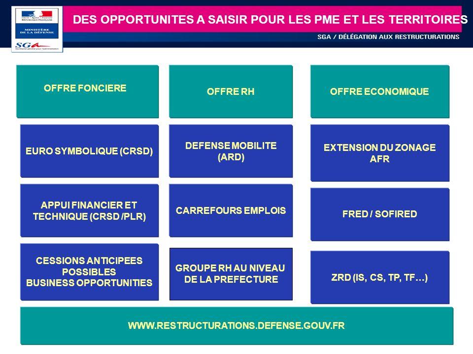 8 DES OPPORTUNITES A SAISIR POUR LES PME ET LES TERRITOIRES EURO SYMBOLIQUE (CRSD) APPUI FINANCIER ET TECHNIQUE (CRSD /PLR) CESSIONS ANTICIPEES POSSIB