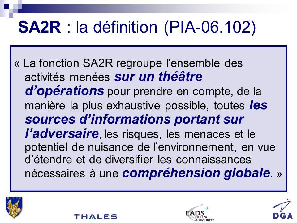 « La fonction SA2R regroupe lensemble des activités menées sur un théâtre dopérations pour prendre en compte, de la manière la plus exhaustive possibl