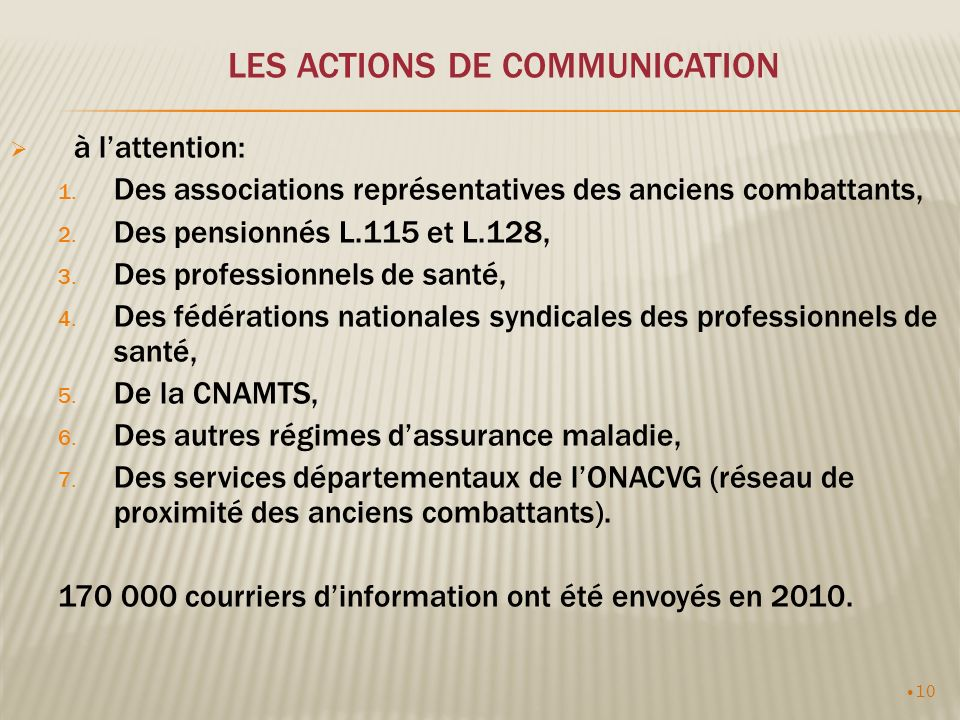 10 LES ACTIONS DE COMMUNICATION à lattention: 1.