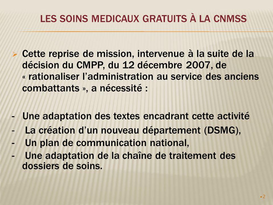 2 LES SOINS MEDICAUX GRATUITS À LA CNMSS Cette reprise de mission, intervenue à la suite de la décision du CMPP, du 12 décembre 2007, de « rationalise