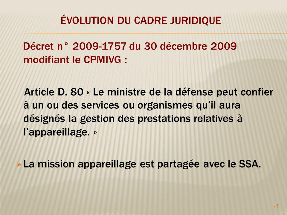 5 ÉVOLUTION DU CADRE JURIDIQUE Décret n° 2009-1757 du 30 décembre 2009 modifiant le CPMIVG : Article D. 80 « Le ministre de la défense peut confier à
