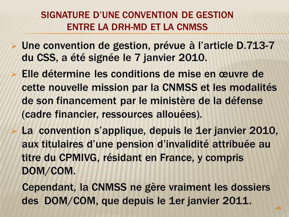 6 SIGNATURE DUNE CONVENTION DE GESTION ENTRE LA DRH-MD ET LA CNMSS Une convention de gestion, prévue à larticle D.713-7 du CSS, a été signée le 7 janvier 2010.