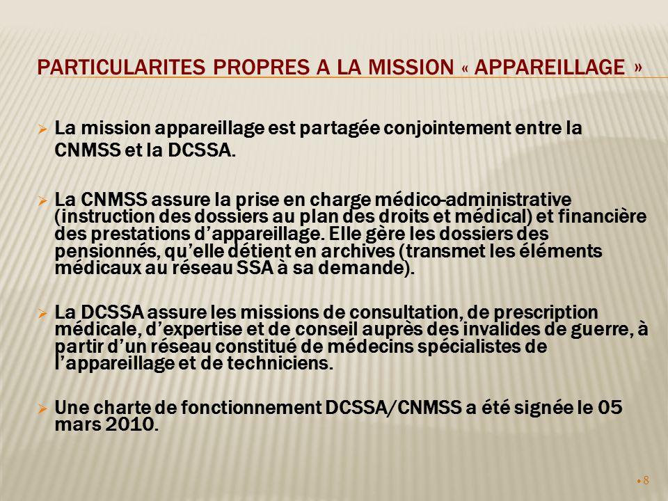 8 PARTICULARITES PROPRES A LA MISSION « APPAREILLAGE » La mission appareillage est partagée conjointement entre la CNMSS et la DCSSA. La CNMSS assure