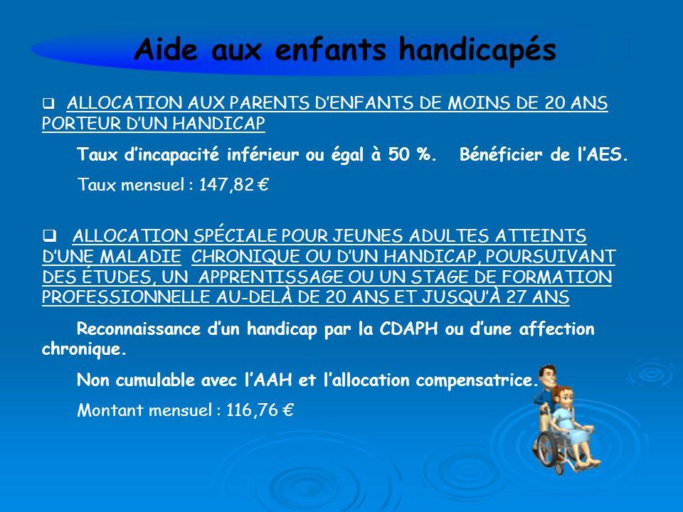 ALLOCATION AUX PARENTS DENFANTS DE MOINS DE 20 ANS PORTEUR DUN HANDICAP Taux dincapacité inférieur ou égal à 50 %.