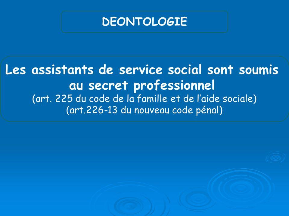 DEONTOLOGIE Les assistants de service social sont soumis au secret professionnel (art.