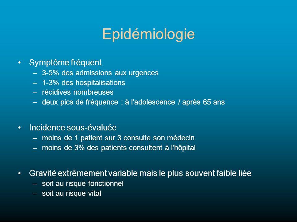 Epidémiologie Symptôme fréquent –3-5% des admissions aux urgences –1-3% des hospitalisations –récidives nombreuses –deux pics de fréquence : à ladoles