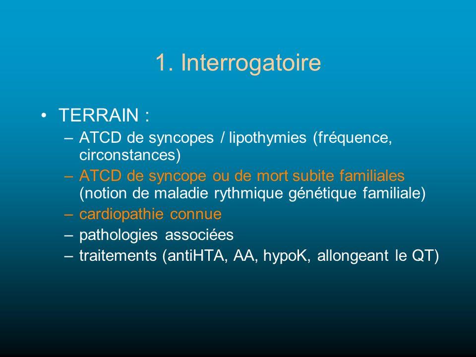 1. Interrogatoire TERRAIN : –ATCD de syncopes / lipothymies (fréquence, circonstances) –ATCD de syncope ou de mort subite familiales (notion de maladi