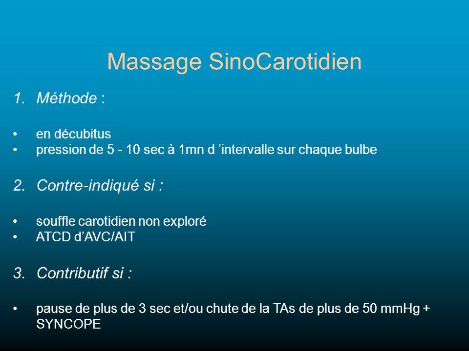 Massage SinoCarotidien 1.Méthode : en décubitus pression de 5 - 10 sec à 1mn d intervalle sur chaque bulbe 2.Contre-indiqué si : souffle carotidien no