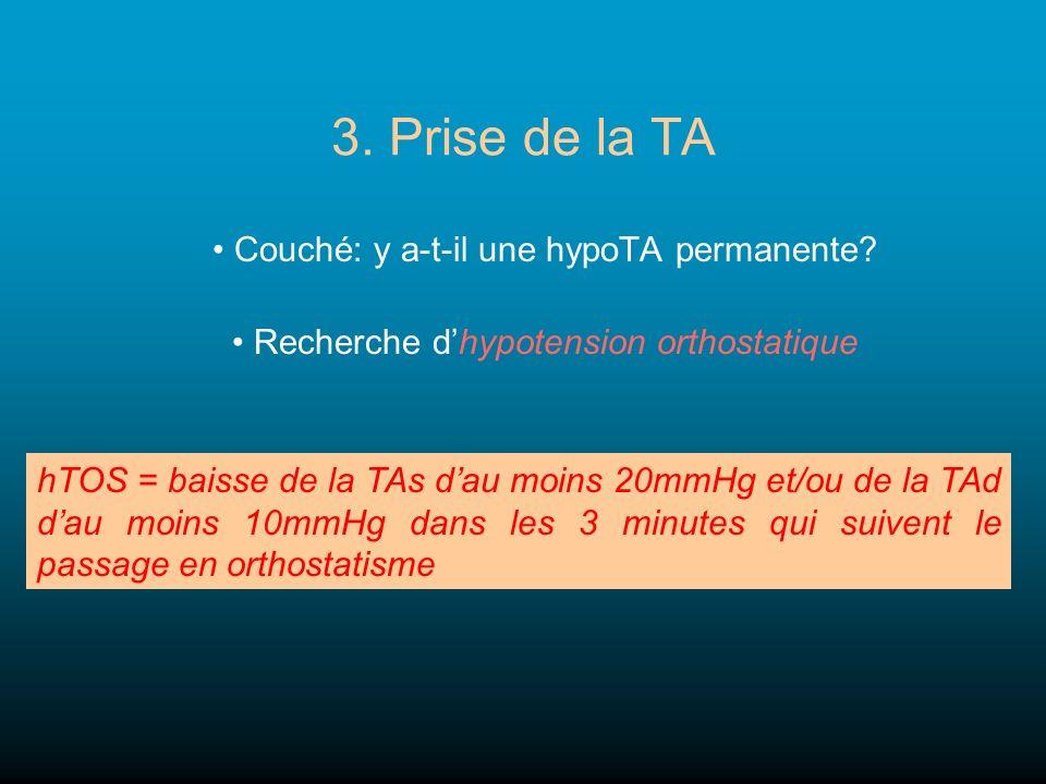 3. Prise de la TA Couché: y a-t-il une hypoTA permanente? Recherche dhypotension orthostatique hTOS = baisse de la TAs dau moins 20mmHg et/ou de la TA
