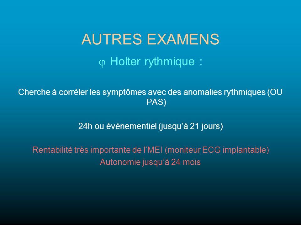 AUTRES EXAMENS Holter rythmique : Cherche à corréler les symptômes avec des anomalies rythmiques (OU PAS) 24h ou événementiel (jusquà 21 jours) Rentab