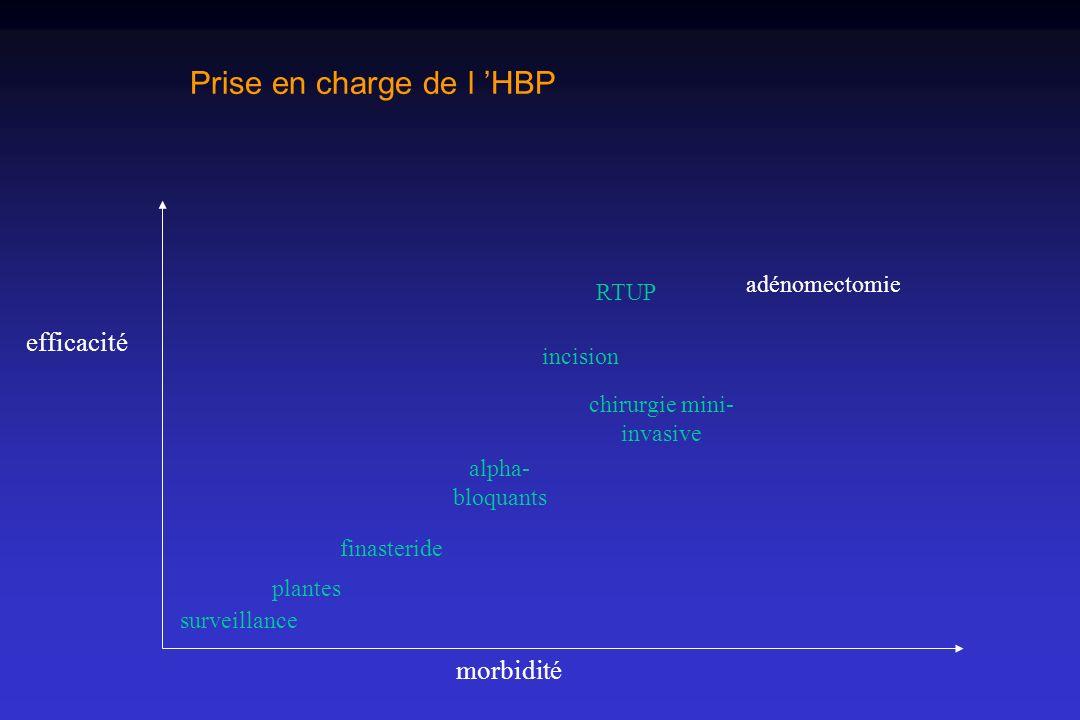 Prise en charge de l HBP morbidité efficacité surveillance plantes finasteride alpha- bloquants incision RTUP adénomectomie chirurgie mini- invasive