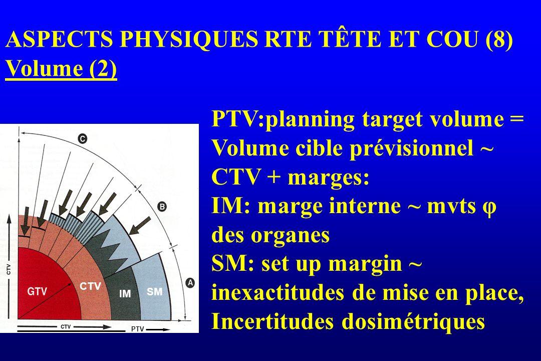 PTV CTV IM SM ASPECTS PHYSIQUES RTE TÊTE ET COU (8) Volume (2) PTV:planning target volume = Volume cible prévisionnel ~ CTV + marges: IM: marge intern