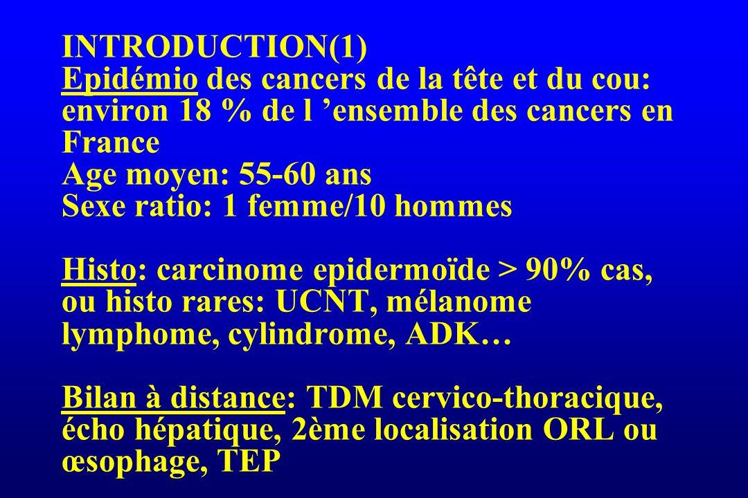 INTRODUCTION(1) Epidémio des cancers de la tête et du cou: environ 18 % de l ensemble des cancers en France Age moyen: 55-60 ans Sexe ratio: 1 femme/1