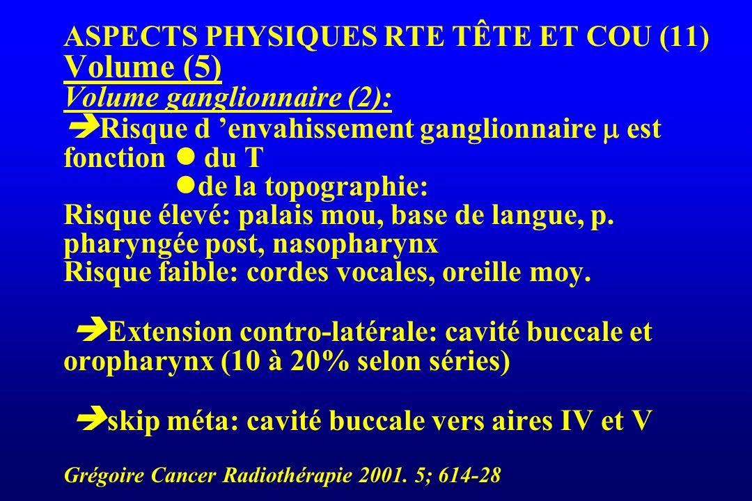 ASPECTS PHYSIQUES RTE TÊTE ET COU (11) Volume (5) Volume ganglionnaire (2): Risque d envahissement ganglionnaire est fonction du T de la topographie: