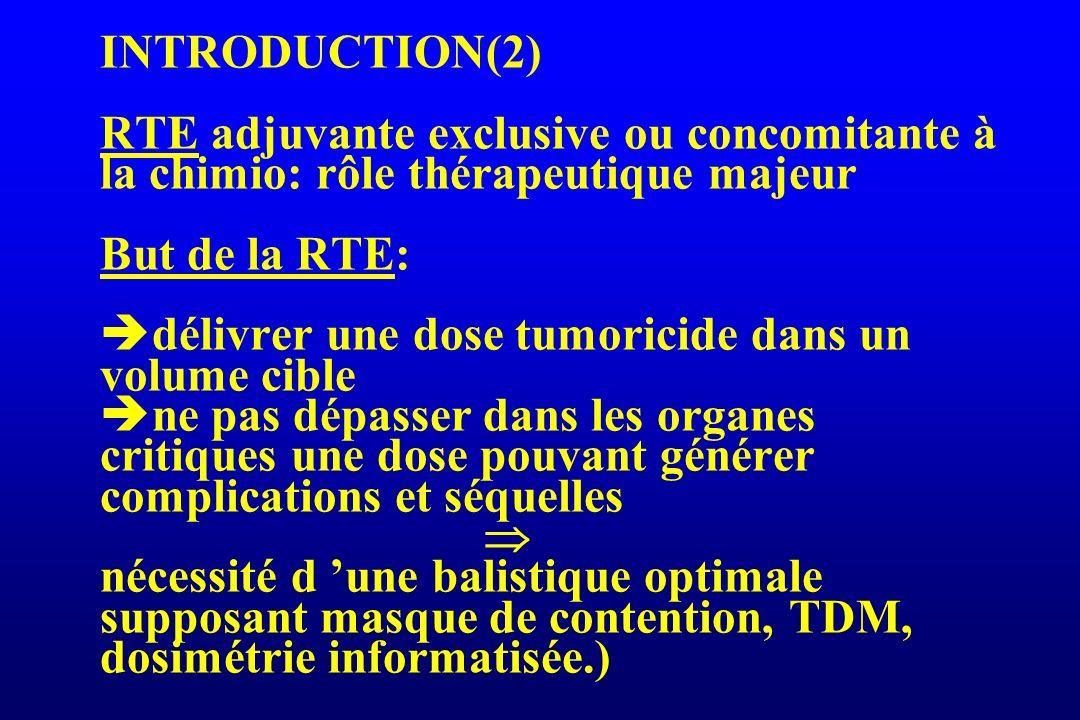 INTRODUCTION(2) RTE adjuvante exclusive ou concomitante à la chimio: rôle thérapeutique majeur But de la RTE: délivrer une dose tumoricide dans un vol
