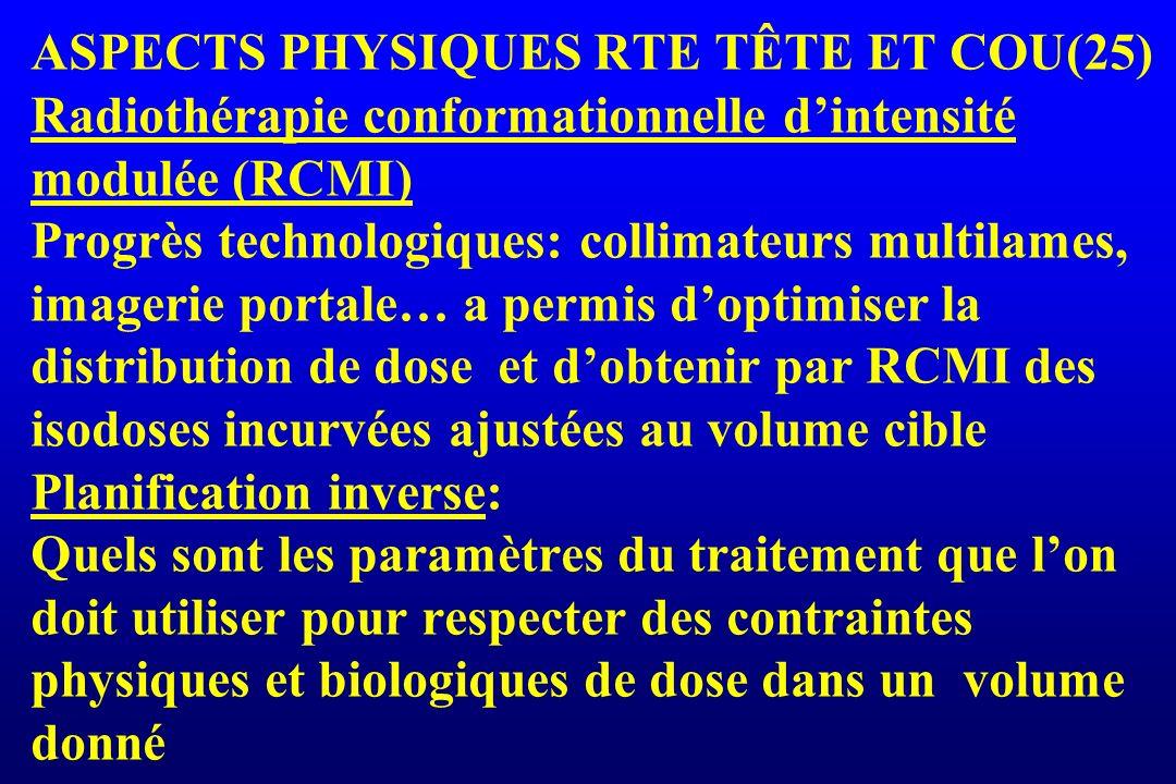 ASPECTS PHYSIQUES RTE TÊTE ET COU(25) Radiothérapie conformationnelle dintensité modulée (RCMI) Progrès technologiques: collimateurs multilames, image