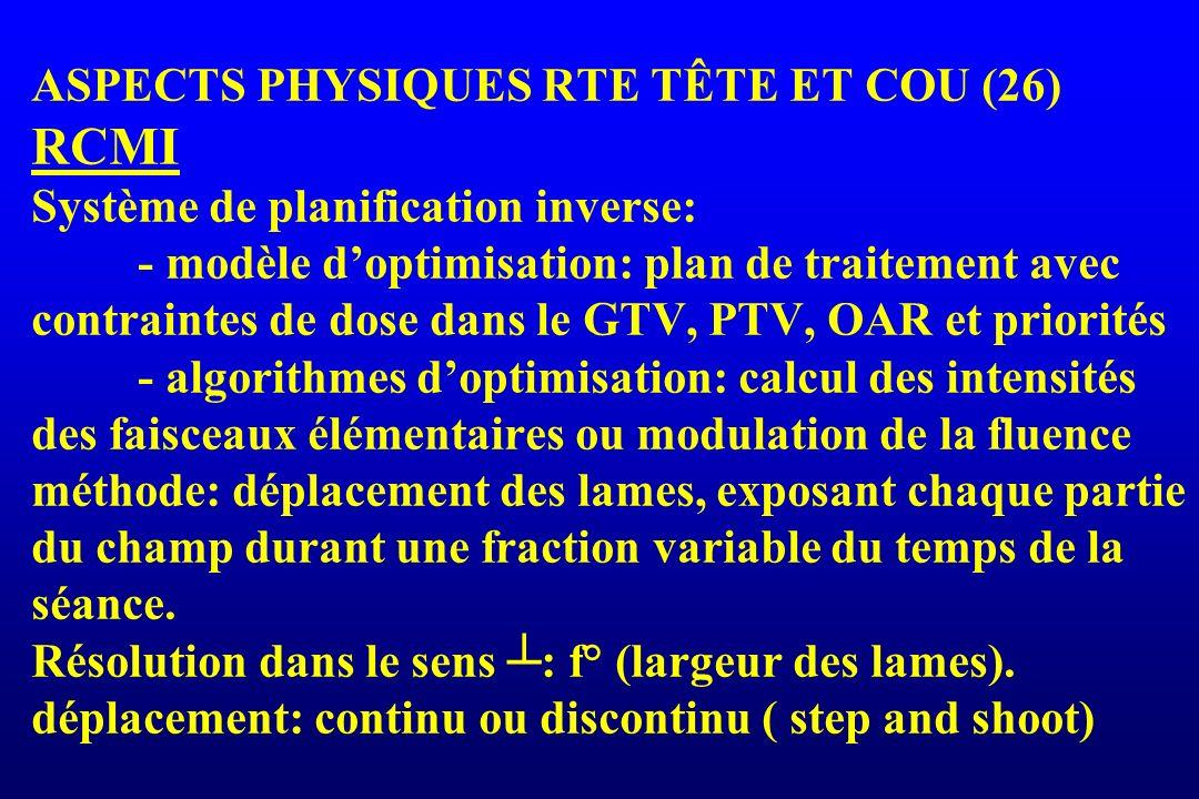 ASPECTS PHYSIQUES RTE TÊTE ET COU (26) RCMI Système de planification inverse: - modèle doptimisation: plan de traitement avec contraintes de dose dans