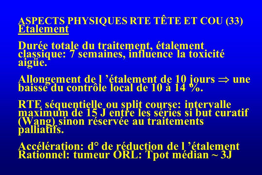 ASPECTS PHYSIQUES RTE TÊTE ET COU (33) Etalement Durée totale du traitement, étalement classique: 7 semaines, influence la toxicité aigüe. Allongement