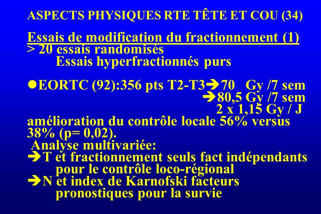 ASPECTS PHYSIQUES RTE TÊTE ET COU (34) Essais de modification du fractionnement (1) > 20 essais randomisés Essais hyperfractionnés purs EORTC (92):356