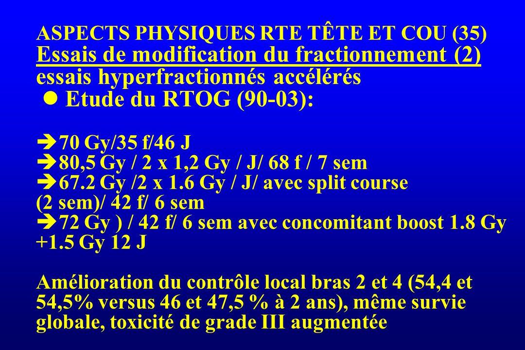 ASPECTS PHYSIQUES RTE TÊTE ET COU (35) Essais de modification du fractionnement (2) essais hyperfractionnés accélérés Etude du RTOG (90-03): 70 Gy/35