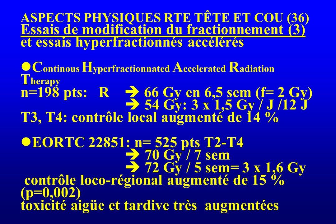 ASPECTS PHYSIQUES RTE TÊTE ET COU (36) Essais de modification du fractionnement (3) et essais hyperfractionnés accélérés C ontinous H yperfractionnate