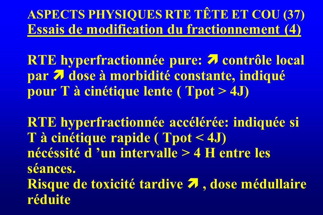 ASPECTS PHYSIQUES RTE TÊTE ET COU (37) Essais de modification du fractionnement (4) RTE hyperfractionnée pure: contrôle local par dose à morbidité con