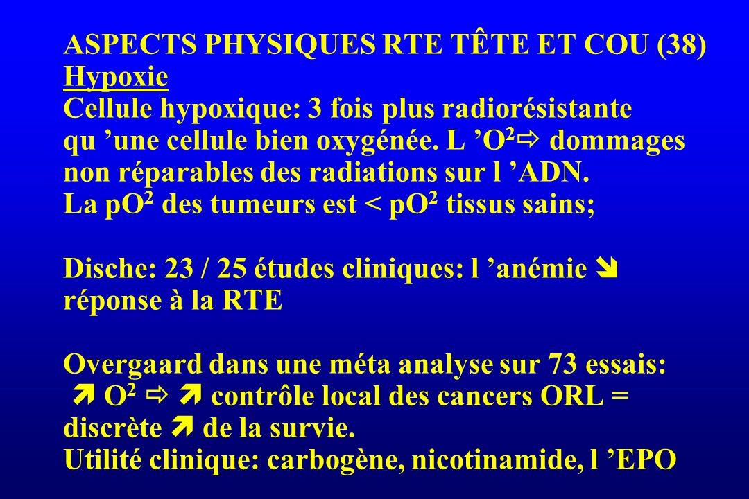 ASPECTS PHYSIQUES RTE TÊTE ET COU (38) Hypoxie Cellule hypoxique: 3 fois plus radiorésistante qu une cellule bien oxygénée. L O 2 dommages non réparab