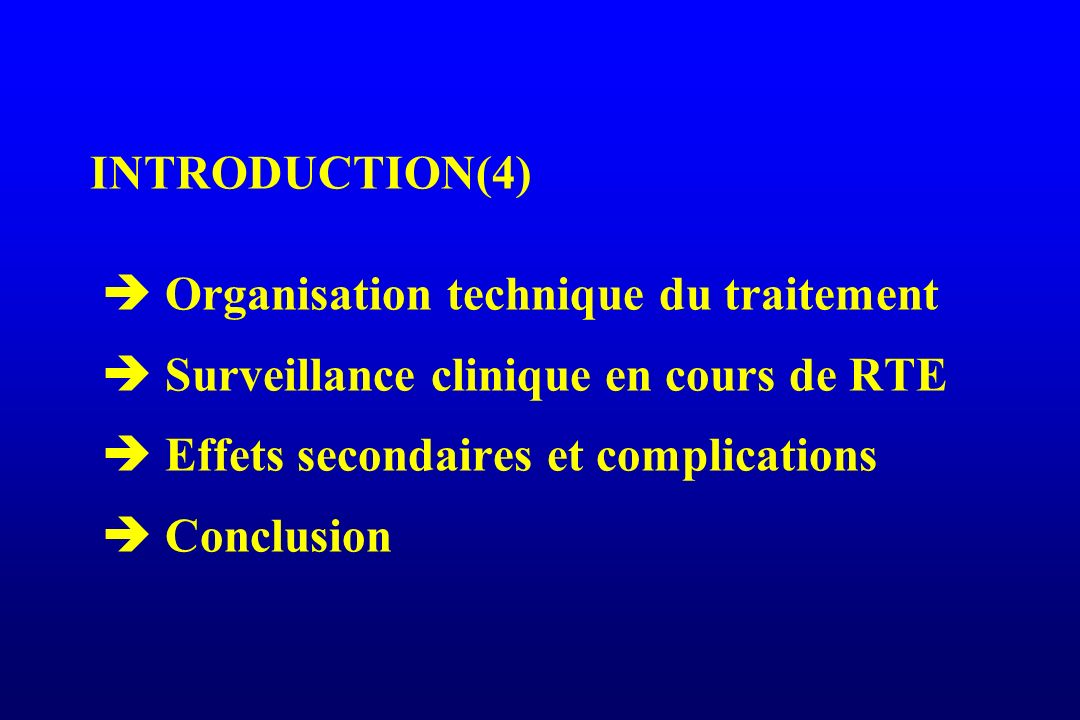 ASPECTS PHYSIQUES RTE TÊTE ET COU (36) Essais de modification du fractionnement (3) et essais hyperfractionnés accélérés C ontinous H yperfractionnated A ccelerated R adiation T herapy n=198 pts: R 66 Gy en 6,5 sem (f= 2 Gy) 54 Gy: 3 x 1,5 Gy / J /12 J T3, T4: contrôle local augmenté de 14 % EORTC 22851: n= 525 pts T2-T4 70 Gy / 7 sem 72 Gy / 5 sem= 3 x 1,6 Gy contrôle loco-régional augmenté de 15 % (p=0,002) toxicité aigüe et tardive très augmentées