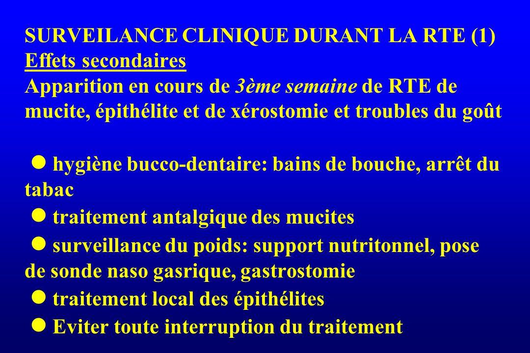 SURVEILANCE CLINIQUE DURANT LA RTE (1) Effets secondaires Apparition en cours de 3ème semaine de RTE de mucite, épithélite et de xérostomie et trouble