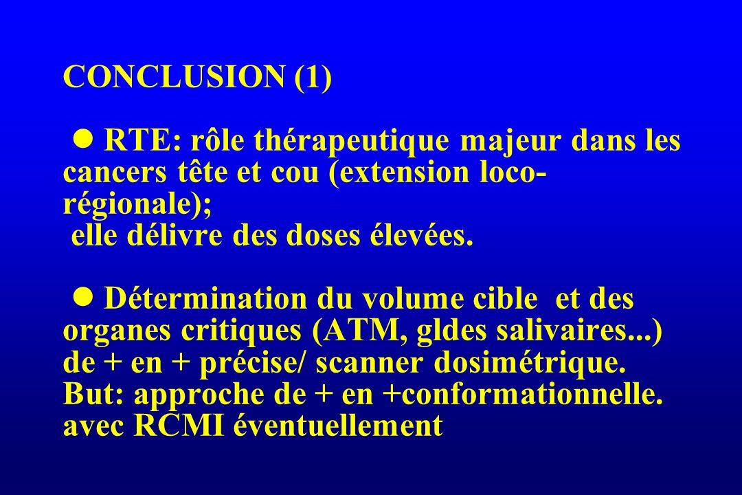 CONCLUSION (1) RTE: rôle thérapeutique majeur dans les cancers tête et cou (extension loco- régionale); elle délivre des doses élevées. Détermination