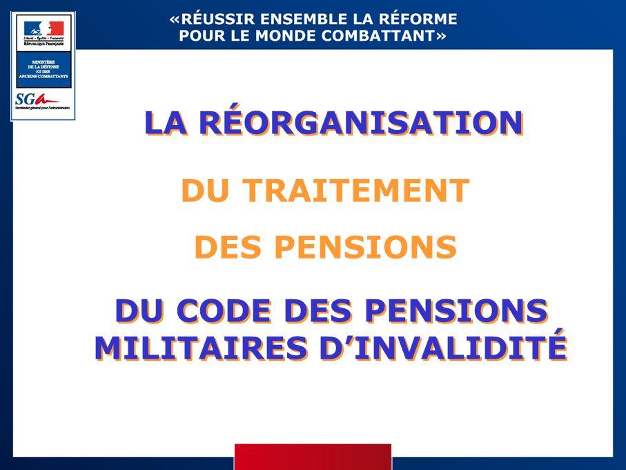 LA RÉORGANISATION DU TRAITEMENT DES PENSIONS DU CODE DES PENSIONS MILITAIRES DINVALIDITÉ