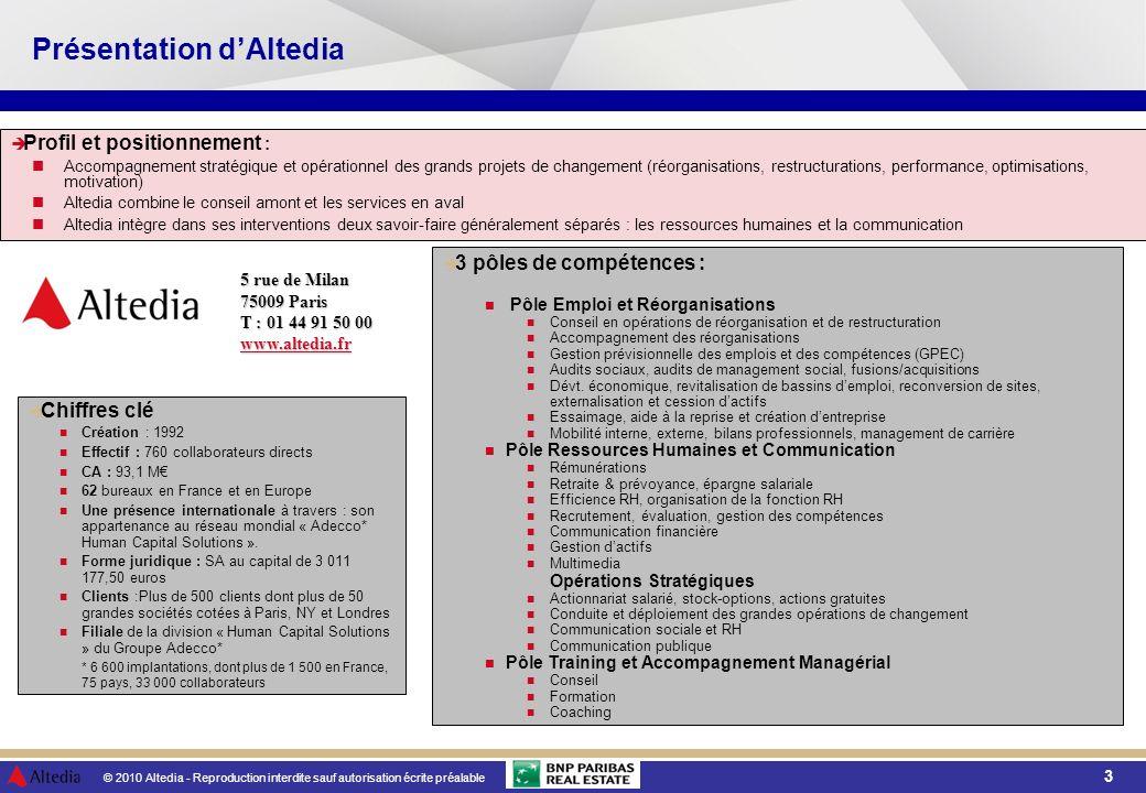 © 2010 Altedia - Reproduction interdite sauf autorisation écrite préalable 4 Présentation BNP Paribas Real Estate Chiffres daffaires 2009 FRANCE : 470 M Une présence dans 29 pays avec notre réseau dalliances TRANSACTION CONSEIL EXPERTISE PROPERTY MANAGEMENT INVESTMENT MANAGEMENT PROPERTY DEVELOPMENT 2 640 000 m² dImmobilier dEntreprise placés en 2008 14 900 expertises réalisées en 2008 12 000 000 m² gérés en France en 2008 BNP Paribas Real Estate gère 3,2 milliards d dactifs en France (2008).