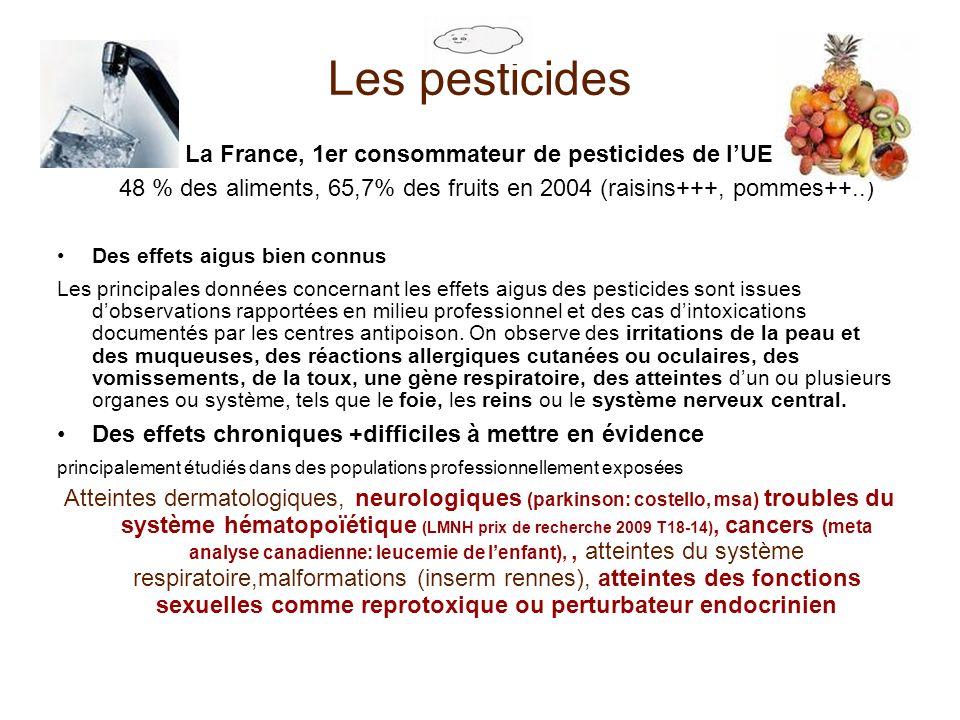 Les pesticides La France, 1er consommateur de pesticides de lUE 48 % des aliments, 65,7% des fruits en 2004 (raisins+++, pommes++..) Des effets aigus
