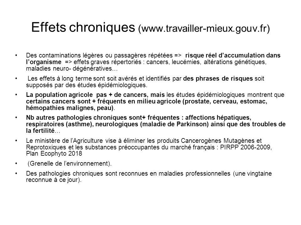 Effets chroniques (www.travailler-mieux.gouv.fr) Des contaminations légères ou passagères répétées => risque réel daccumulation dans lorganisme => eff