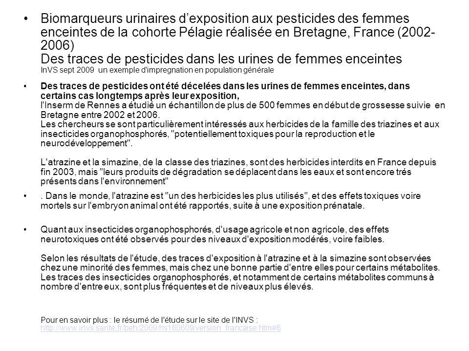 Biomarqueurs urinaires dexposition aux pesticides des femmes enceintes de la cohorte Pélagie réalisée en Bretagne, France (2002- 2006) Des traces de p