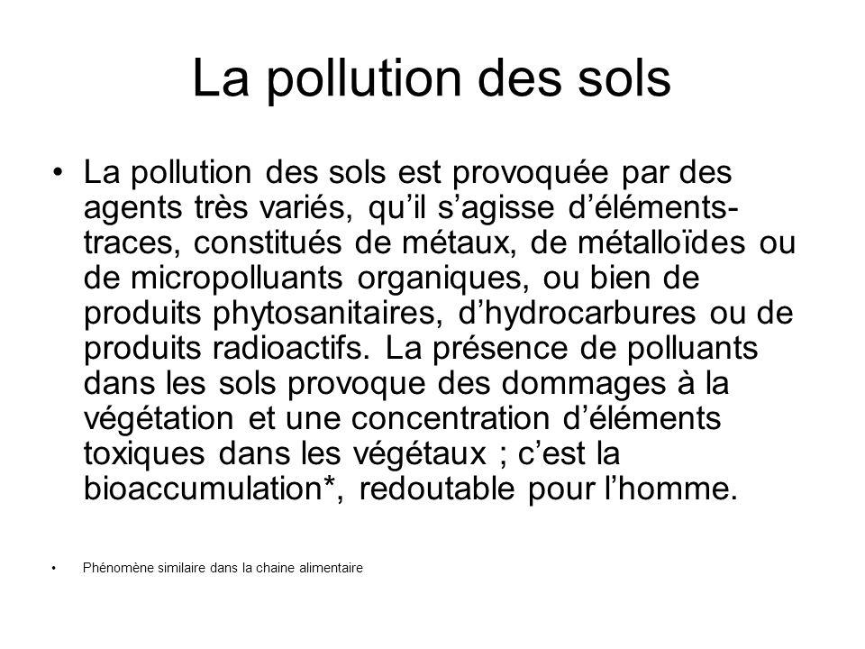 La pollution des sols La pollution des sols est provoquée par des agents très variés, quil sagisse déléments- traces, constitués de métaux, de métallo