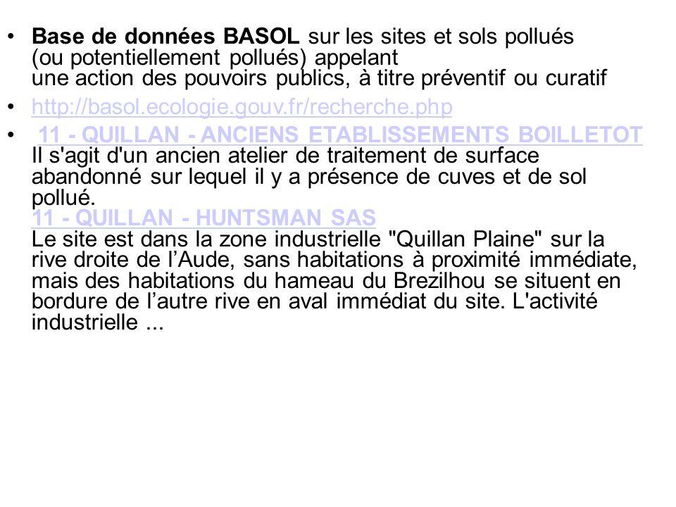 Base de données BASOL sur les sites et sols pollués (ou potentiellement pollués) appelant une action des pouvoirs publics, à titre préventif ou curati