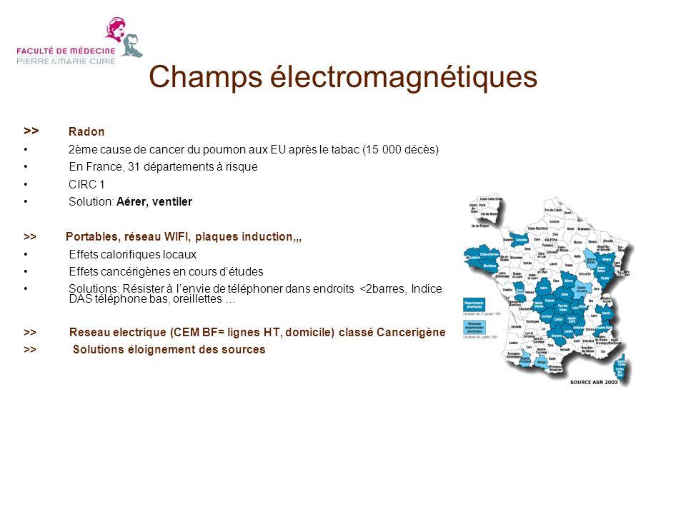 >> Radon 2ème cause de cancer du poumon aux EU après le tabac (15 000 décès) En France, 31 départements à risque CIRC 1 Solution: Aérer, ventiler >> P