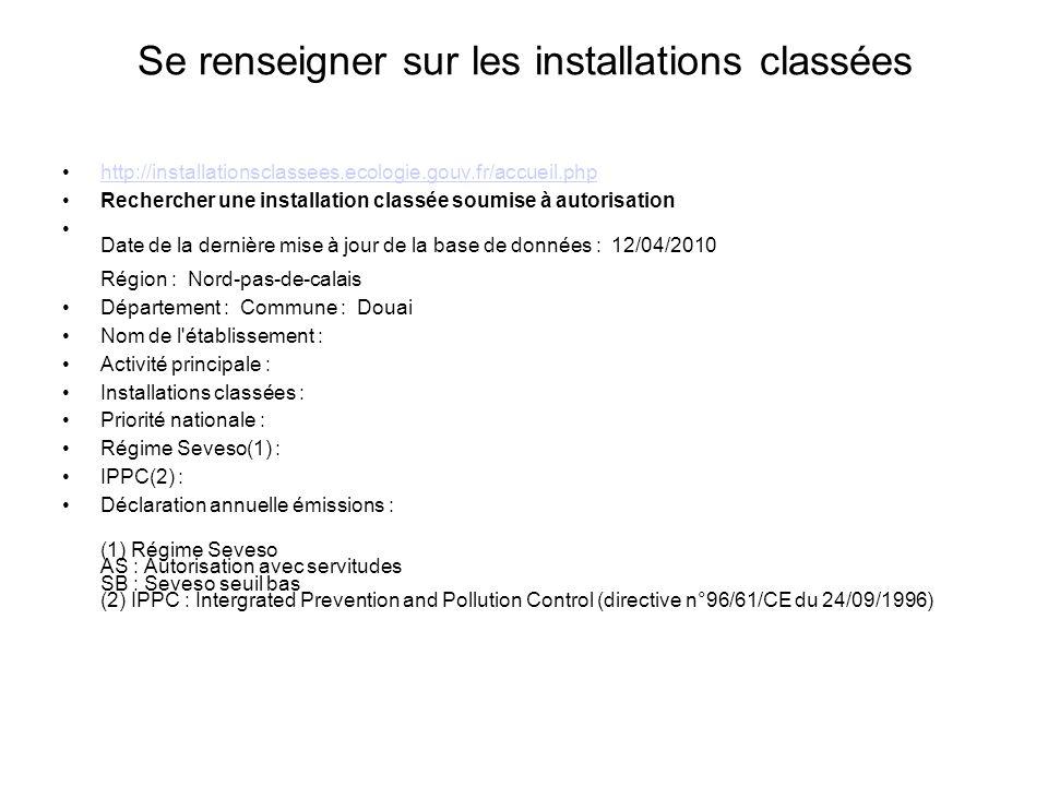 Se renseigner sur les installations classées http://installationsclassees.ecologie.gouv.fr/accueil.php Rechercher une installation classée soumise à a