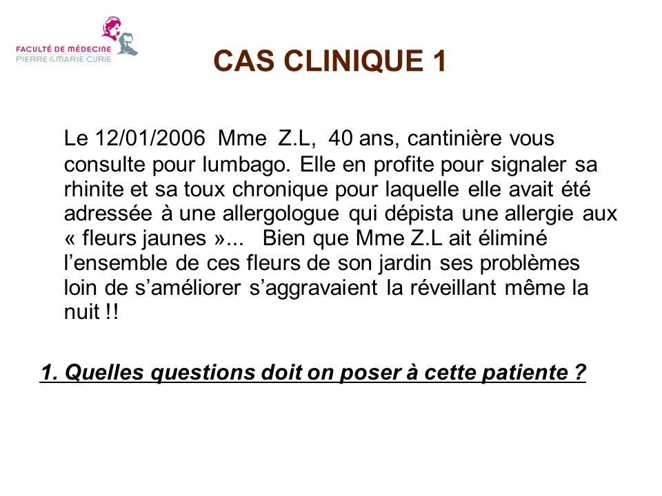 CAS CLINIQUE 1 Le 12/01/2006 Mme Z.L, 40 ans, cantinière vous consulte pour lumbago. Elle en profite pour signaler sa rhinite et sa toux chronique pou
