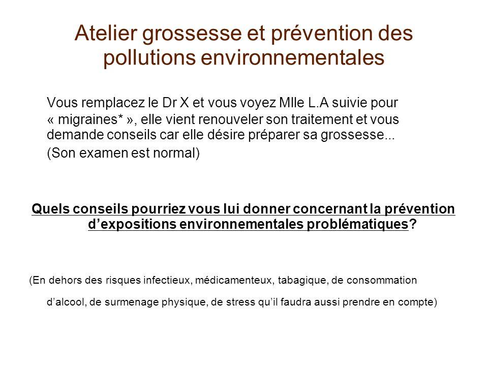 Atelier grossesse et prévention des pollutions environnementales Vous remplacez le Dr X et vous voyez Mlle L.A suivie pour « migraines* », elle vient