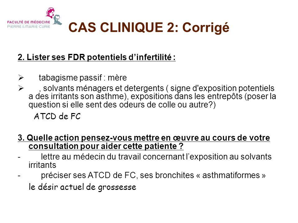 2. Lister ses FDR potentiels dinfertilité : tabagisme passif : mère, solvants ménagers et detergents ( signe d'exposition potentiels a des irritants s