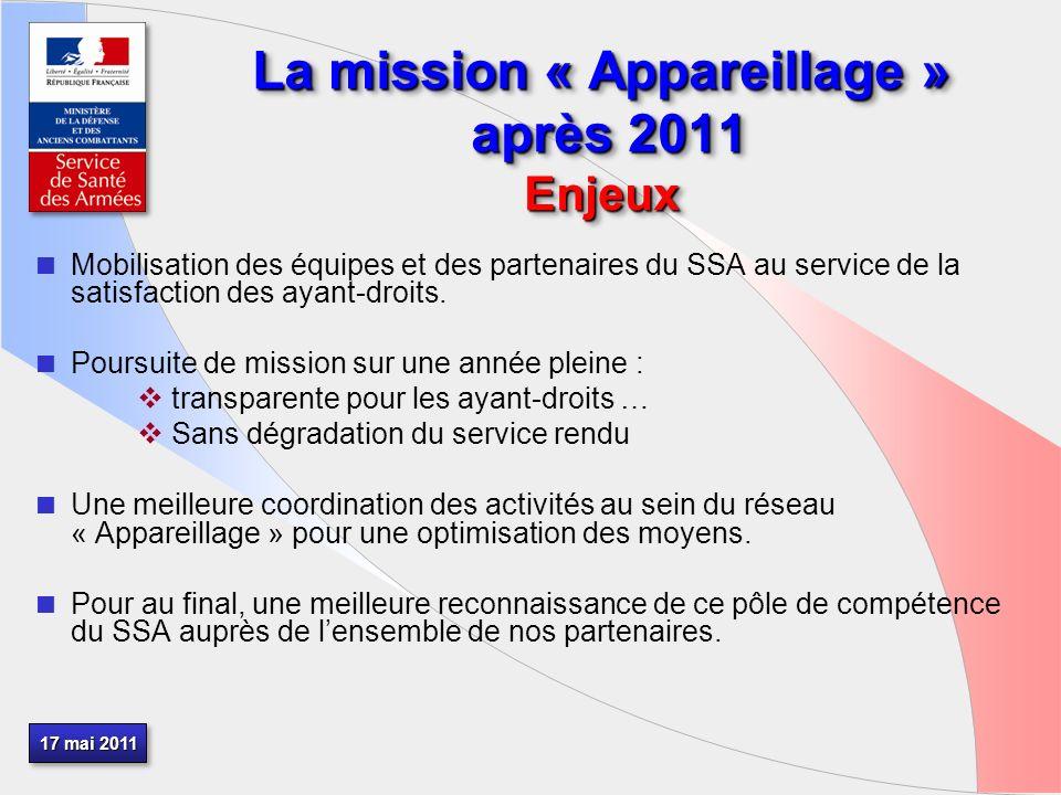 17 mai 2011 La mission « Appareillage » après 2011 Enjeux Mobilisation des équipes et des partenaires du SSA au service de la satisfaction des ayant-droits.