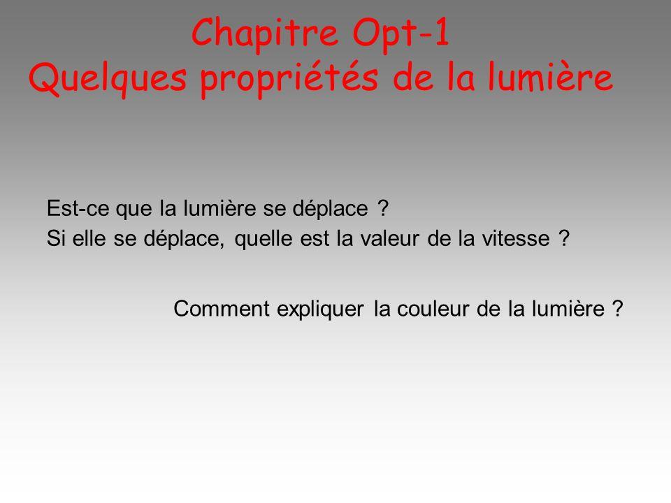Chapitre Opt-1 Quelques propriétés de la lumière Est-ce que la lumière se déplace ? Si elle se déplace, quelle est la valeur de la vitesse ? Comment e